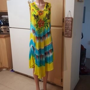 OCEAN BREEZE Plus Size Yellow Maxi Dress